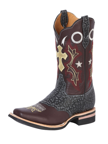 Genuine Leather Classic Rodeo Boots for Men 'Buffalo & Bull' - ID: 40947 MIEL