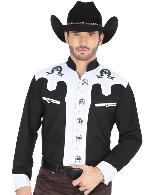Long Sleeve Charro Denim Shirt for Men, 65% Polyester, 35% Cotton 'El General' - ID: 35188 NEGRO