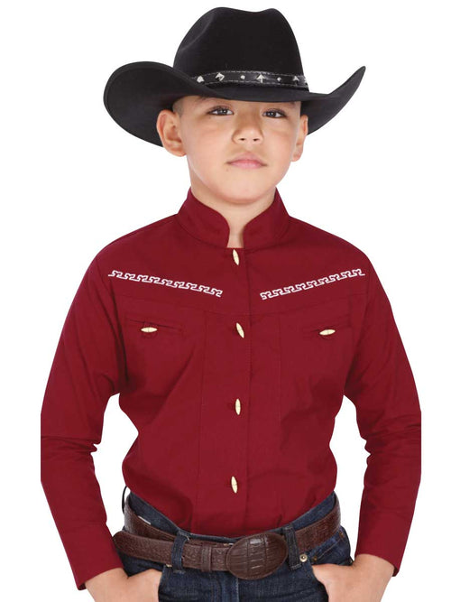 Cowgirl Long Sleeve Shirt for Boy, 65% Polyester, 35% Cotton 'The General' - ID: 40358 RED