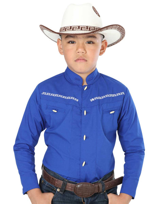 Cowgirl Long Sleeve Shirt for Boy, 65% Polyester, 35% Cotton 'El General' - ID: 40360 AZUL COBALTO