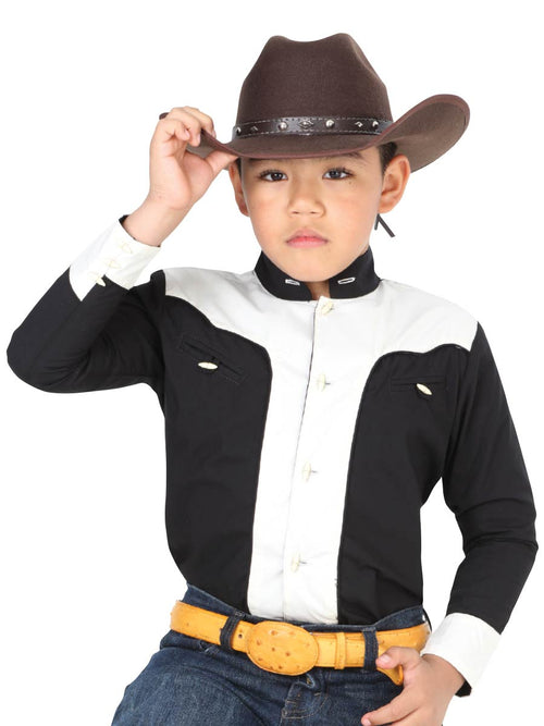 Cowgirl Long Sleeve Shirt for Boy, 65% Polyester, 35% Cotton 'El General' - ID: 40363 NEGRO