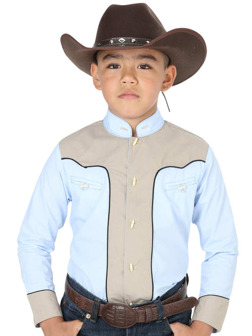 Cowgirl Long Sleeve Shirt for Boy, 65% Polyester, 35% Cotton 'El General' - ID: 40364 BLUE CLEAR