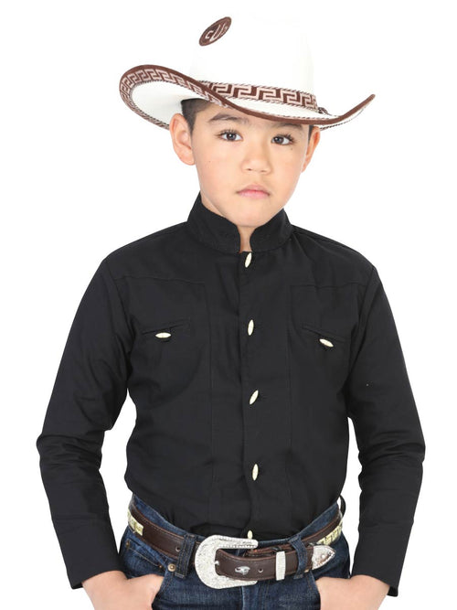 Cowgirl Long Sleeve Shirt for Boy, 65% Polyester, 35% Cotton 'El General' - ID: 40366 NEGRO