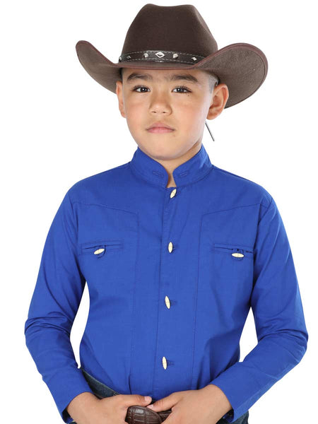 Casual Long Sleeve Shirt for Boy, 65% Polyester, 35% Cotton 'The General' - ID: 33386 ROYAL BLUE