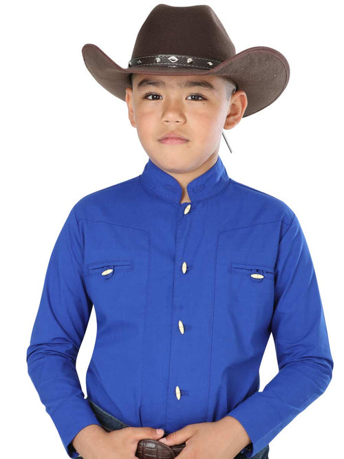 Cowgirl Long Sleeve Shirt for Boy, 65% Polyester, 35% Cotton 'El General' - ID: 40368 AZUL COBALTO