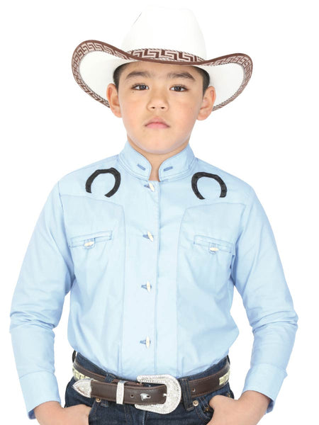 Cowgirl Long Sleeve Shirt for Boy, 65% Polyester, 35% Cotton 'El General' - ID: 40372 BLUE CLEAR