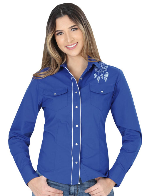 Long Sleeve Cowgirl Blouse for Women, 65% Polyester, 35% Cotton 'El General' - ID: 40476 AZUL COBALTO