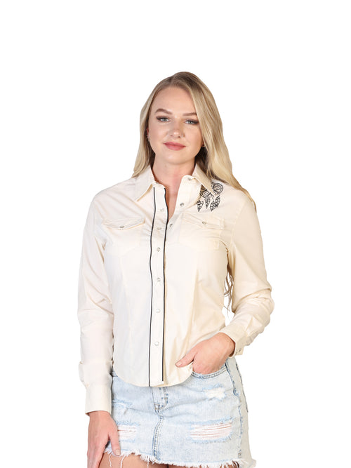 Long Sleeve Cowgirl Blouse for Women, 65% Polyester, 35% Cotton 'El General' - ID: 40477 BEIGE