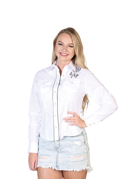 Long Sleeve Cowgirl Blouse for Women, 65% Polyester, 35% Cotton 'El General' - ID: 40478 BLANCO