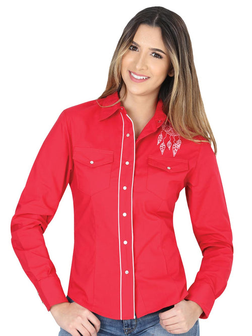Long Sleeve Cowgirl Blouse for Women, 65% Polyester, 35% Cotton 'The General' - ID: 40479 RED