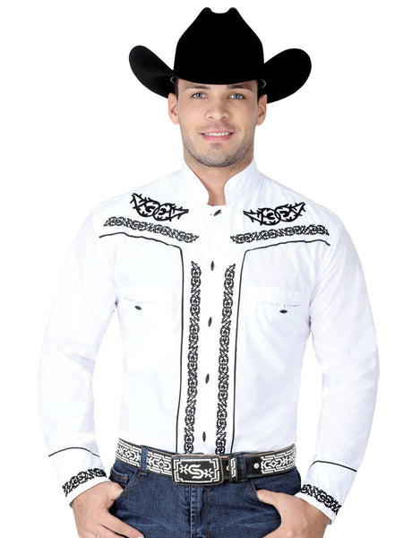 Long Sleeve Charro Denim Shirt for Men, 65% Polyester, 35% Cotton 'El General' - ID: 40783 BLANCO