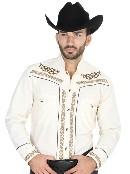 Long Sleeve Charro Denim Shirt for Men, 65% Polyester, 35% Cotton 'El General' - ID: 40784 BEIGE