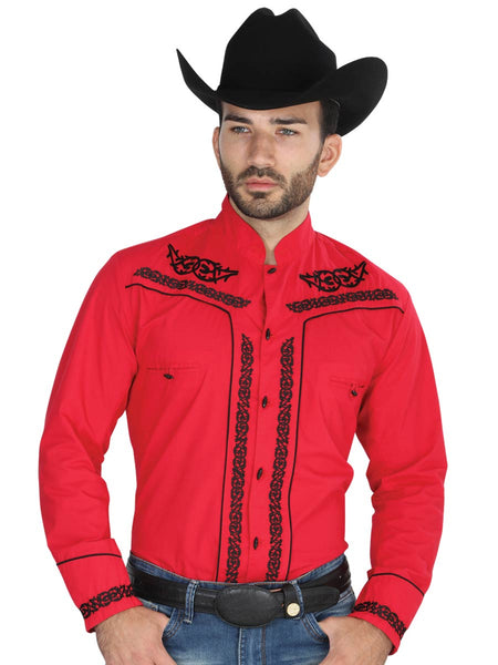 Long Sleeve Charro Denim Shirt for Men, 65% Polyester, 35% Cotton 'The General' - ID: 40786 RED