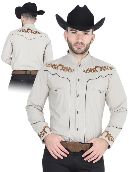 Men's Long Sleeve Charro Denim Shirt, 65% Polyester, 35% Cotton 'El General' - ID: 40789 KHAKI