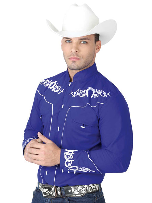 Men's Charco Denim Shirt, 65% Polyester, 35% Cotton 'El General' - ID: 40791 AZUL COBALTO