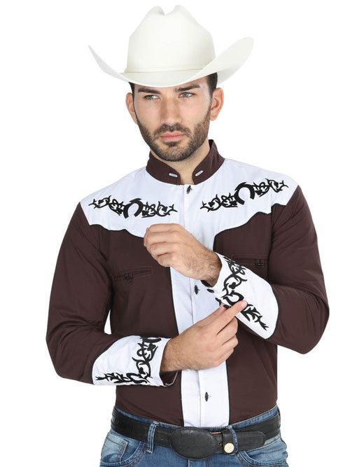 Men's Long Sleeve Charro Denim Shirt, 65% Polyester, 35% Cotton 'El General' - ID: 40793 CAFE