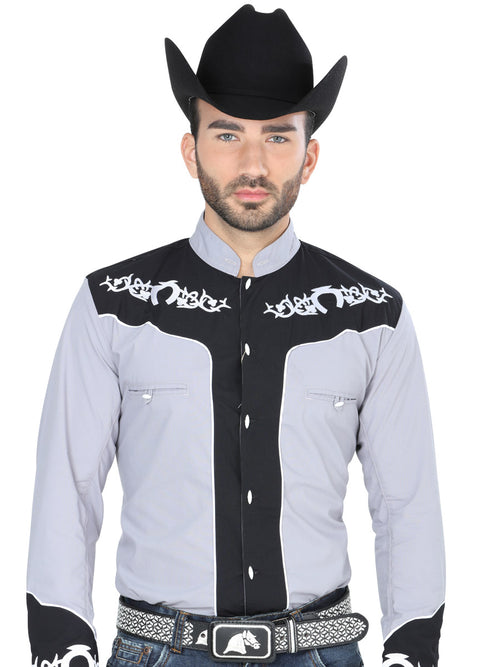Long Sleeve Charro Denim Shirt for Men, 65% Polyester, 35% Cotton 'El General' - ID: 40794 GRAY