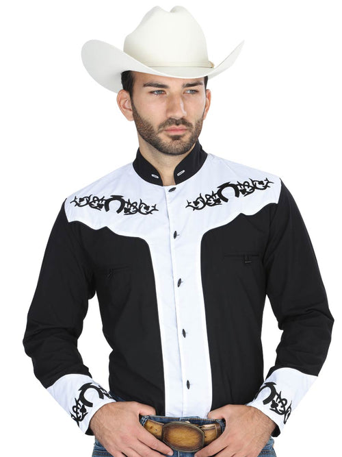 Long Sleeve Charro Denim Shirt for Men, 65% Polyester, 35% Cotton 'El General' - ID: 40795 NEGRO