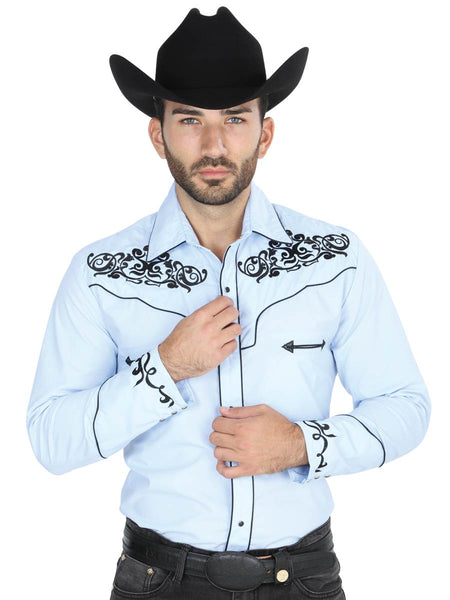 Long Sleeve Cowgirl Shirt for Men, 65% Polyester, 35% Cotton 'El General' - ID: 41207 BLUE SKY
