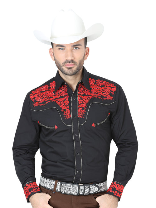 Men's Long Sleeve Casual Shirt, 60% Cotton, 40% Polyester 'The Lord of the Skies' * - ID: 41935 BLACK / RED