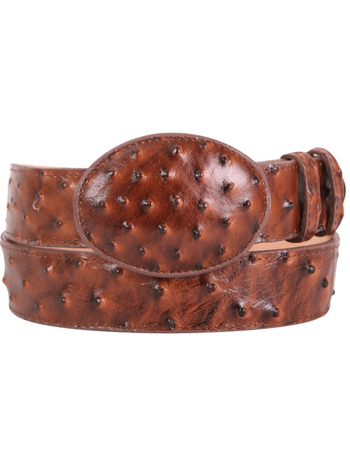 Imit Ostrich Imitation Cowboy Belt for Man 'El General' - ID: 42005 COGNAC