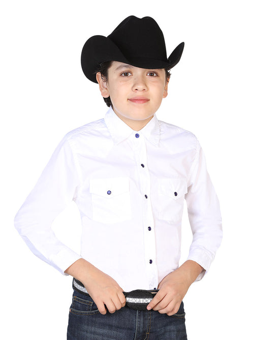 Long Sleeve Casual Shirt for Children, 55% Cotton, 45% Polyester 'El General' * - ID: 42493 WHITE