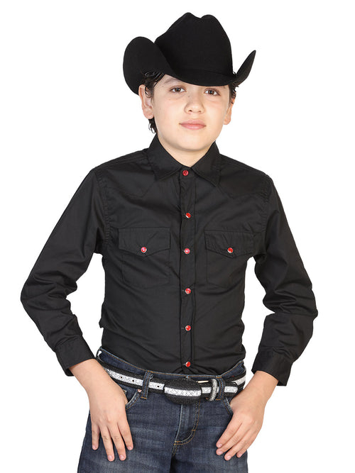 Casual Long Sleeve Shirt for Children, 55% Cotton, 45% Polyester 'El General' * - ID: 42495 BLACK