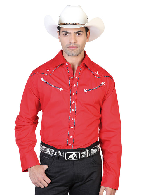 Long Sleeve Embroidered Denim Shirt for Men, 55% Cotton, 45% Polyester 'El General' * - ID: 42509 RED
