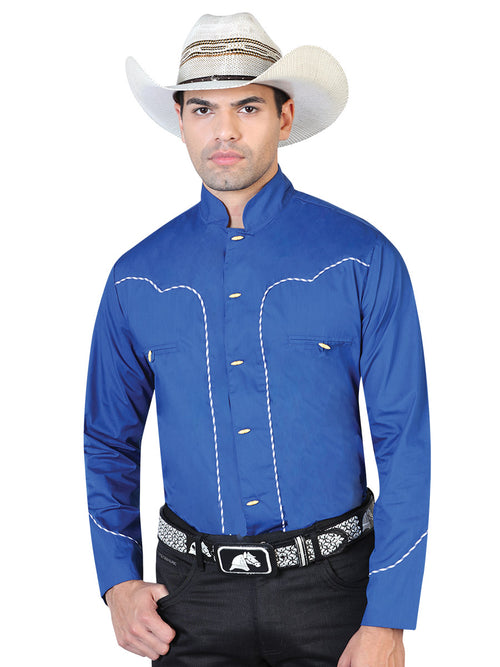 Long Sleeve Charra Denim Shirt for Men, 55% Cotton, 45% Polyester 'El General' * - ID: 42530 COBALT BLUE