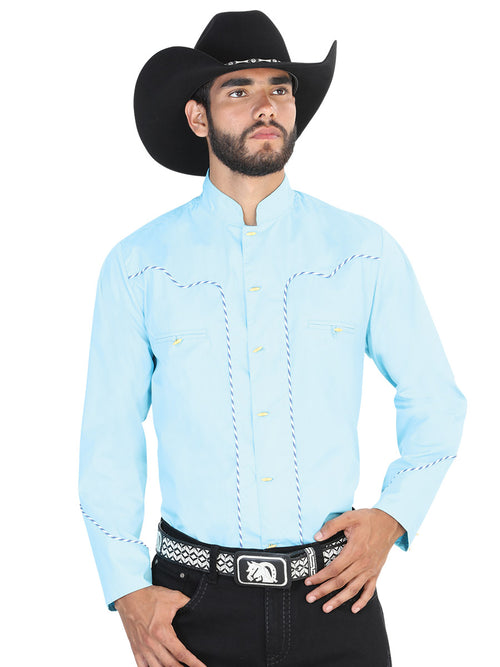Long Sleeve Charro Denim Shirt for Men, 55% Cotton, 45% Polyester 'El General' * - ID: 42531 LIGHT BLUE