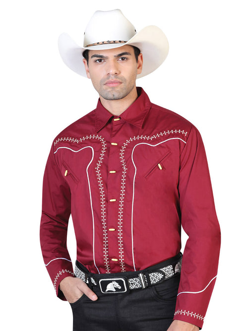 Long Sleeve Charra Denim Shirt for Men, 55% Cotton, 45% Polyester 'El General' * - ID: 42550 WINE