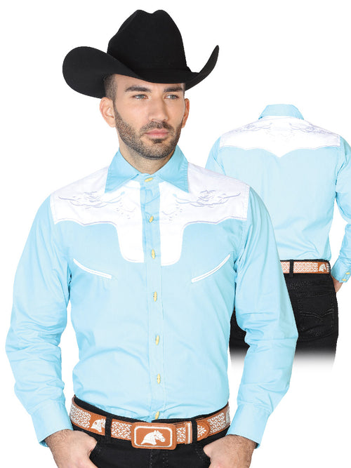 Long Sleeve Charro Denim Shirt for Men, 55% Cotton, 45% Polyester 'El General' * - ID: 42587 LIGHT BLUE