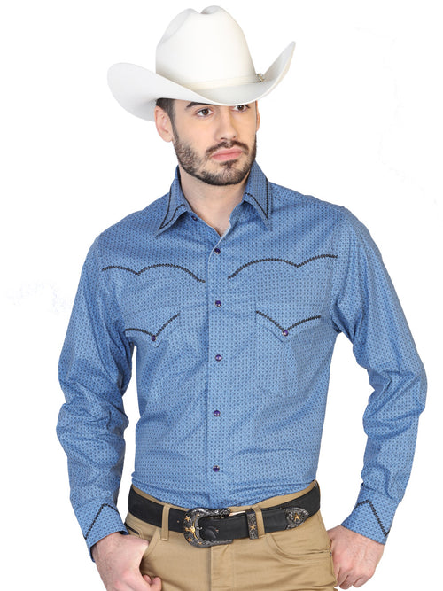 Long Sleeve Denim Shirt for Men, 100% Cotton 'The Lord of the Skies' * - ID: 42607 NAVY BLUE