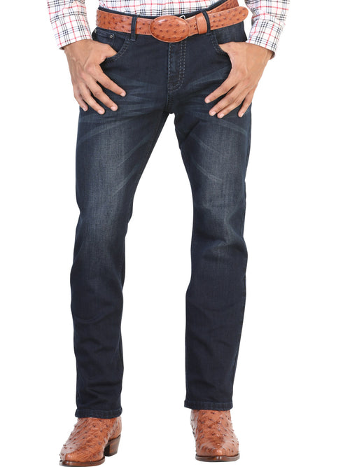 Casual Trousers for Men, 97% Cotton, 3% Spandex 'The Lord of the Skies' * - ID: 42854 ANTIQUE BLUE