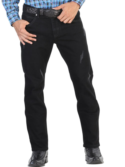 Casual Trousers for Men, 97% Cotton, 3% Spandex 'The Lord of the Skies' * - ID: 42857 BLACK