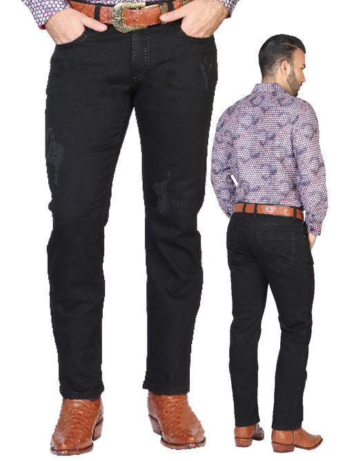 Casual Trousers for Men, 97% Cotton, 3% Spandex 'The Lord of the Skies' * - ID: 42858 BLACK