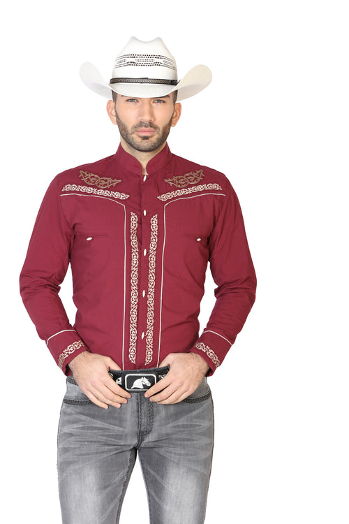 Long Sleeve Charra Denim Shirt for Men, 65% Polyester, 35% Cotton 'The Lord of the Skies' * - ID: 42875 WINE