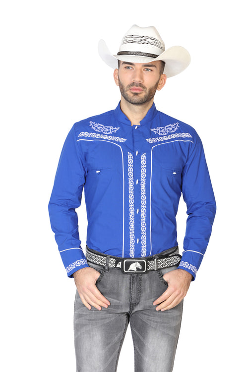 Long Sleeve Charra Denim Shirt for Men, 65% Polyester, 35% Cotton 'The Lord of the Skies' * - ID: 42878 COBAL BLUE