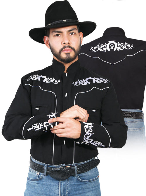 Long Sleeve Charra Denim Shirt for Men, 65% Polyester, 35% Cotton 'The Lord of the Skies' * - ID: 42879 BLACK