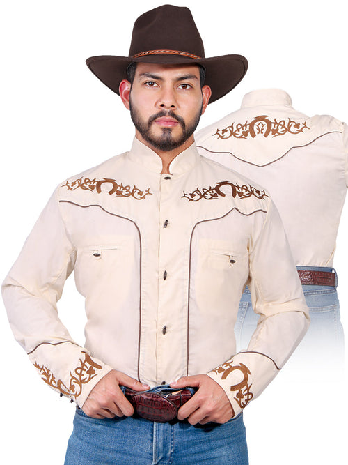 Long Sleeve Charra Denim Shirt for Men, 65% Polyester, 35% Cotton 'The Lord of the Skies' * - ID: 42882 BEIGE