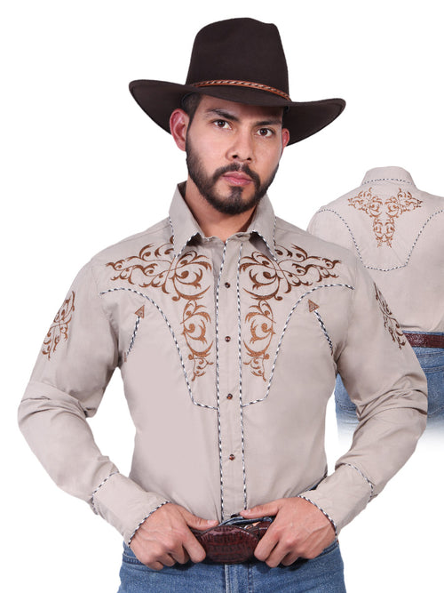 Long Sleeve Embroidered Denim Shirt for Men, 65% Polyester, 35% Cotton 'The Lord of the Skies' * - ID: 42884 KHAKI