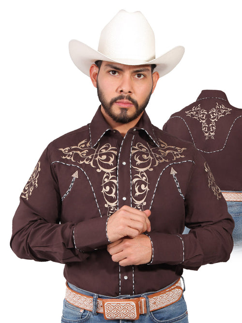Long Sleeve Embroidered Denim Shirt for Men, 65% Polyester, 35% Cotton 'The Lord of the Skies' * - ID: 42885 CAFE