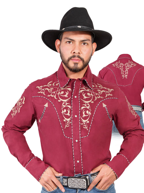 Long Sleeve Embroidered Denim Shirt for Men, 65% Polyester, 35% Cotton 'The Lord of the Skies' * - ID: 42886 WINE