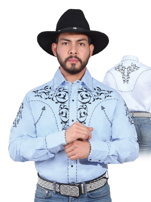 Long Sleeve Embroidered Denim Shirt for Men, 65% Polyester, 35% Cotton 'The Lord of the Skies' * - ID: 42887 LIGHT BLUE
