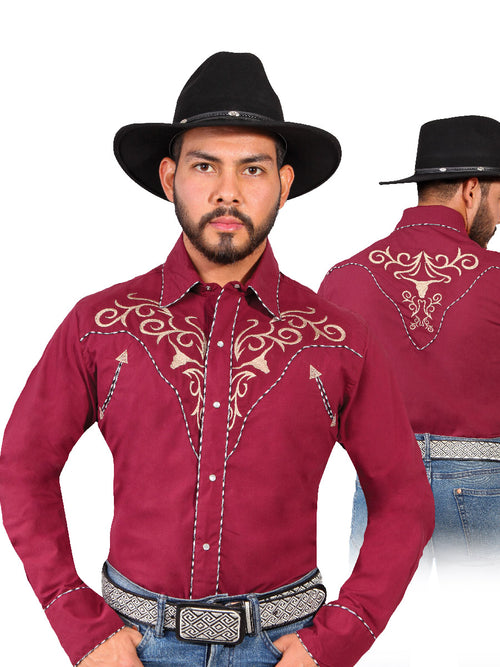 Long Sleeve Embroidered Denim Shirt for Men, 65% Polyester, 35% Cotton 'The Lord of the Skies' * - ID: 42888 WINE