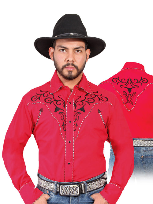 Long Sleeve Embroidered Denim Shirt for Men, 65% Polyester, 35% Cotton 'The Lord of the Skies' * - ID: 42889 RED