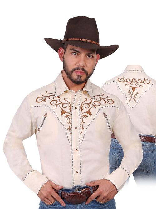 Long Sleeve Embroidered Denim Shirt for Men, 65% Polyester, 35% Cotton 'The Lord of the Skies' * - ID: 42890 BEIGE