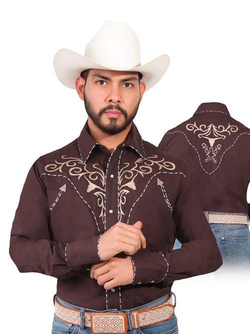 Long Sleeve Embroidered Denim Shirt for Men, 65% Polyester, 35% Cotton 'The Lord of the Skies' * - ID: 42891 CAFE