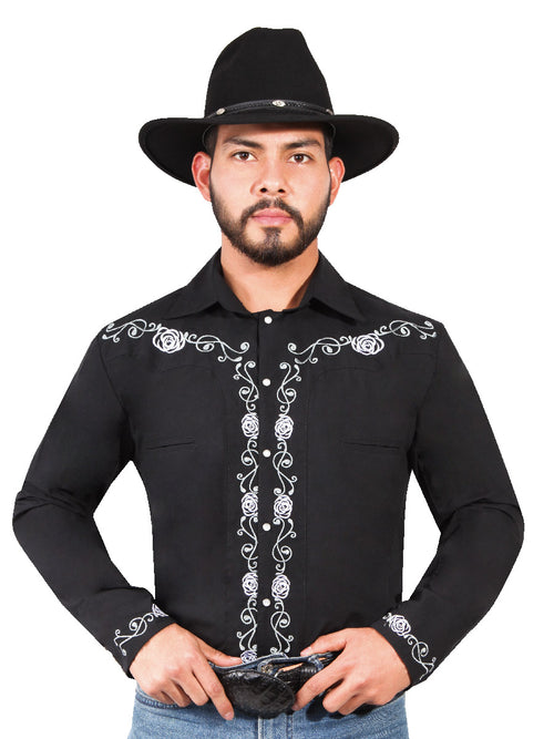 Long Sleeve Embroidered Denim Shirt for Men, 65% Polyester, 35% Cotton 'The Lord of the Skies' * - ID: 42937 BLACK