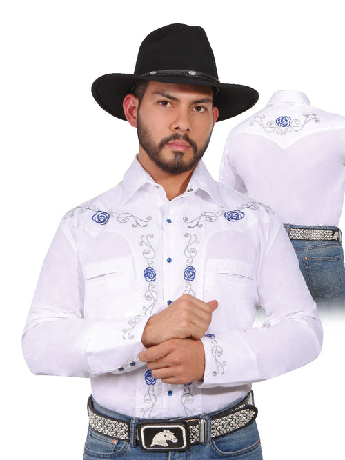 Long Sleeve Embroidered Denim Shirt for Men, 65% Polyester, 35% Cotton 'The Lord of the Skies' * - ID: 42938 WHITE